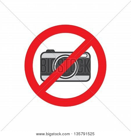 No photo camera sign isolated on white background.