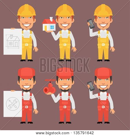 Vector Illustration, Builder and Repairman Holds Phone Poster, Format EPS 8