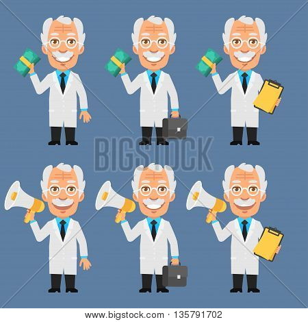 Vector Illustration, Old Professor Holds Money Megaphone, Format EPS 8