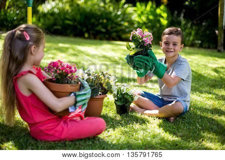 Siblings holding flower pots while sitting on grass in yard
