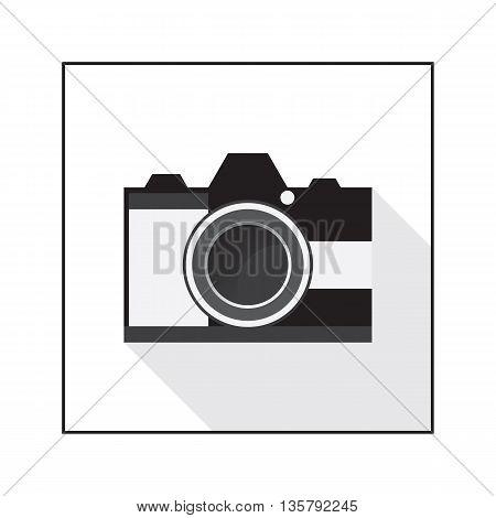 Camera flat icon on white background. Vector illustration.