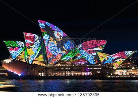 Sydney Australia - May 27 2016: Lighting the Sails Songlines is Sydney Opera House illumination on annual outdoor lighting festival Vivid Sydney