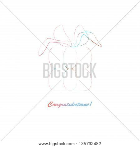 gift outline card element. vector illustration, bright logo design