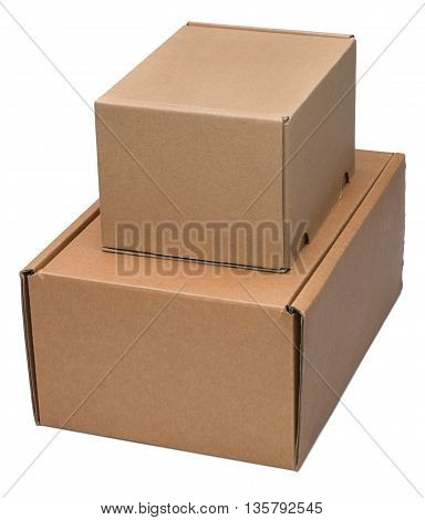 Two cardboard boxes. Isolated on the white background with shadow.