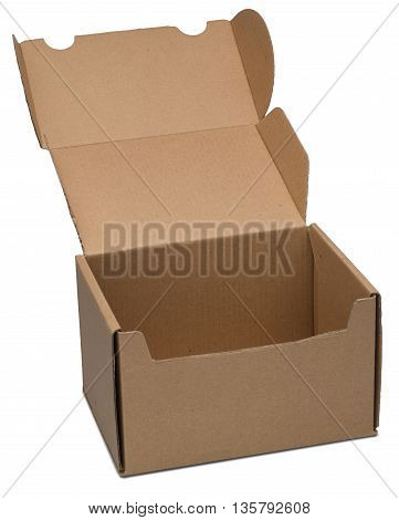 Open cardboard box. Isolated on the white background with shadow.