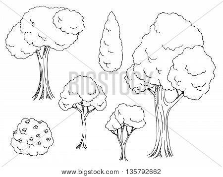 Tree graphic set black white illustration vector