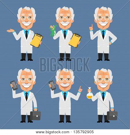 Vector Illustration, Old Professor Holds Suitcase Frog Test Tubes, Format EPS 8