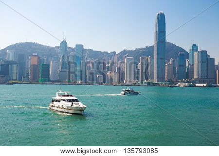 Victoria Harbour of modern city buildings backgrounds at skyline