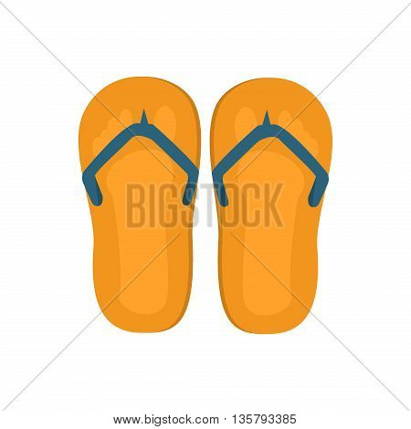 Pair of flip-flops isolated on a white background. Vector illustration flip flops. Beach footwear fashion vacation, travel pair flip flops. Casual recreation foot shoe sandal isolated yellow slipper.