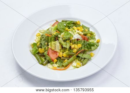 salad on the white background