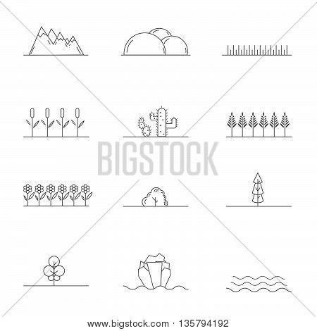 Linear landscape elements. Stock vector. Vector illustration.