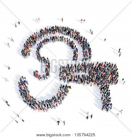 Large and creative group of people gathered together in the shape of ear, ear doctor, hospital, medicine, image. 3D illustration, isolated against a white background.