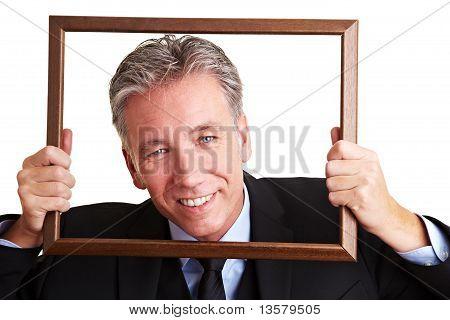 Smiling Manager In Frame