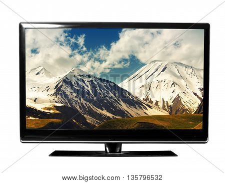 tv screen with landscape on the white