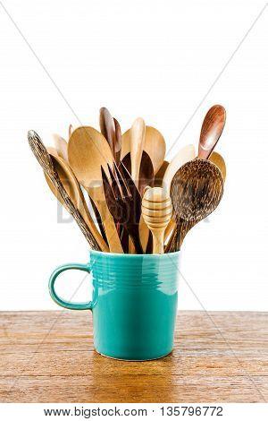 Kitchen Wooden Utensils In Ceramic Cup