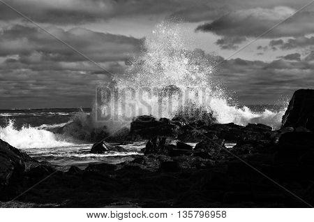 impressive Crashing surf in black and white
