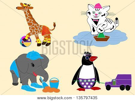 babies animal play toys outside cartoon character