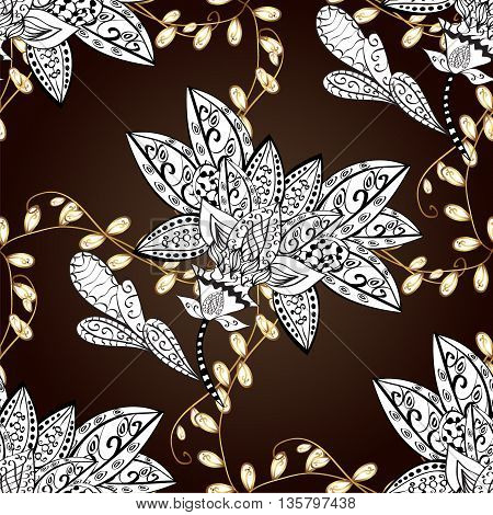 vector seamless texture with doodles flowers on brown background