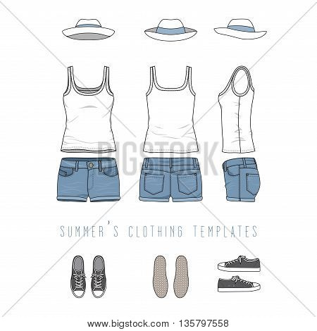 Vector illustration of women s clothing set - white basic top, jeans shorts, panama hat, sneakers. Blank vector templates in front, back, side views for fashion design. Isolated on white background.
