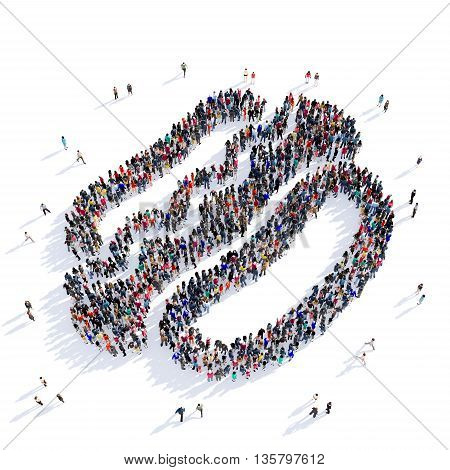 Large and creative group of people gathered together in the shape of hot dogs, fast food, eating, image. 3D illustration, isolated against a white background.