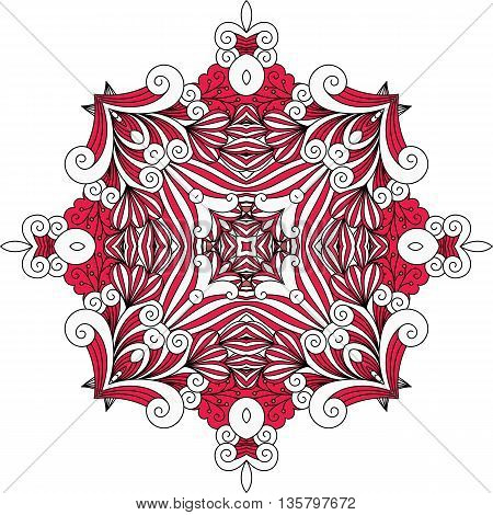 Red ornate geometric symmetrical pattern with intricate detailed swirling shapes over white background