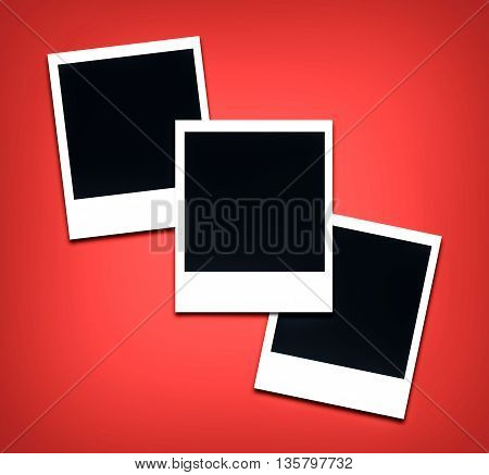 photo frames red color background (empty space to place an image)
