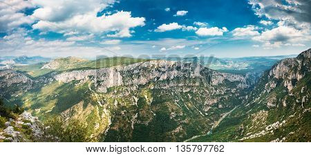 Beautiful Mountains Landscape Of The Gorges Du Verdon In South-eastern France. Provence-alpes-cote D'azur. Panorama