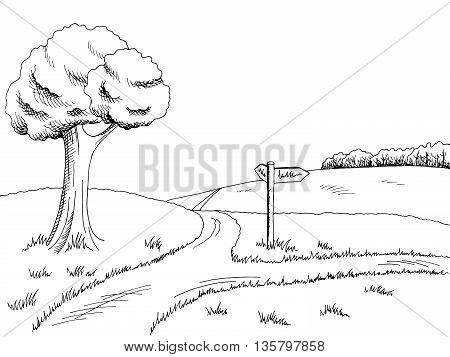Crossroad pathway graphic art black white landscape illustration vector