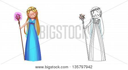 Coloring Book and Princess Girl Character Design Set 12 Athena Goddess, Greek Princess. Realistic Fantastic Cartoon Style Character Story Card Sticker Design