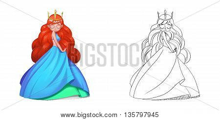 Coloring Book and Princess Girl Character Design Set 13 The Hot Red Hair Gypsy Princess. Realistic Fantastic Cartoon Style Character Story Card Sticker Design