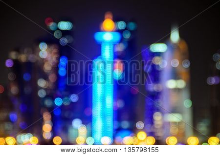 Doha blurred abstract background lights, beautiful cityscape view