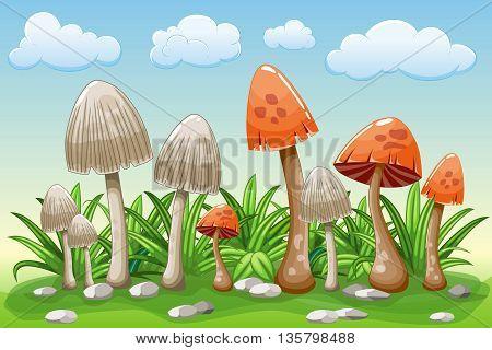 Illustration of cartoon mushrooms in the grass