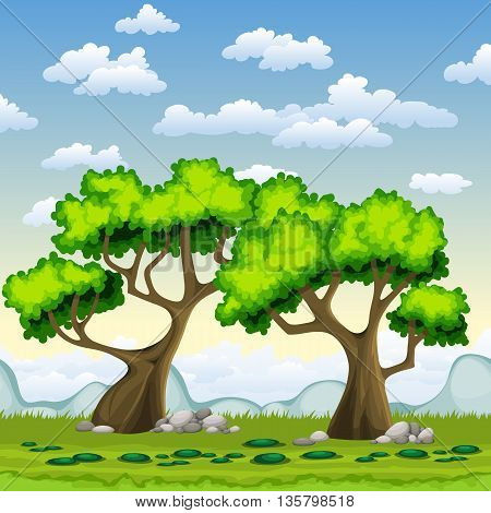 two green trees in summer with clouds