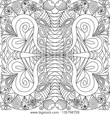 Abstract hand-rendered computer ornamental square mandala art therapy for relaxation and relax the mind. Coloring for adults with a butterfly motif. Vector drawing.