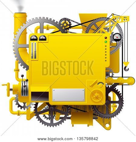 Yellow complex fantastic machine with gears, levers, pipes, meters and lifting crane. Steampunk style template, poster and techno background. 3D illustration. Contain the Clipping Path