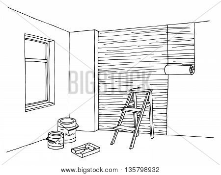 Remodel room graphic art black white interior illustration vector