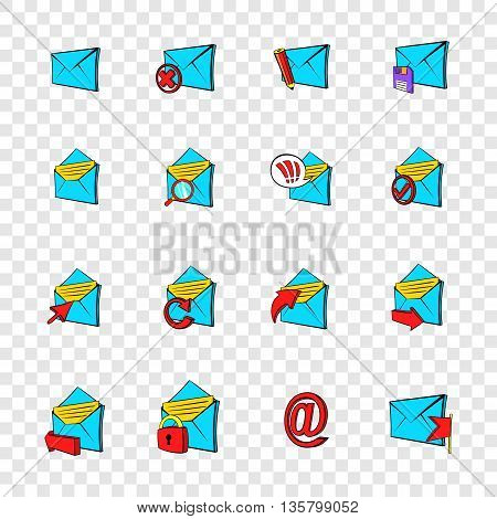 Mail icons set in pop-art style with transparency for design