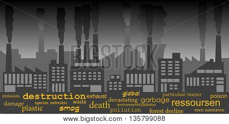 Strong air pollution from industry, vector Illustration