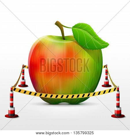 Apple fruit located in restricted area. Apple with leaf surrounded barrier tape. Qualitative vector illustration about agriculture, fruits, cooking, farming, gastronomy, gardening, etc