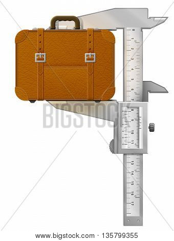 Vertical caliper measures suitcase. Concept of measuring size of travel bag. Vector illustration about travel, luggage, tourism, accessory, vacation, baggage, trip, etc