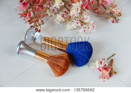 There White and Pink  Branches of Chestnut Tree,Two Make Up Brown and  Blue Brushes are on White Table,Top View