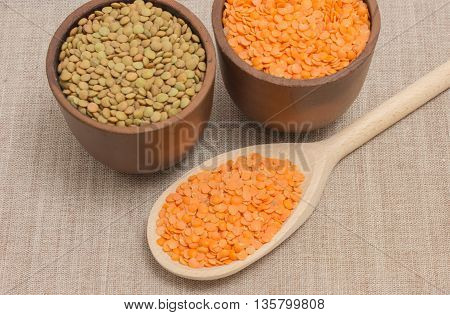 The Seeds Of Red And Green Lentils On Canvas