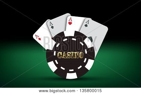 Poker cards. Vector Casino elements. Casino text