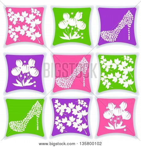 beautiful bright pillows in different colors with patterns vector illustration