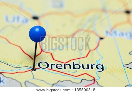 Orenburg pinned on a map of Russia