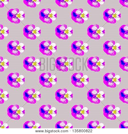 Seamless repeat pattern of painted effect pansies on lilac background