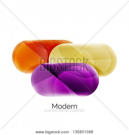 Colorful glossy glass bubbles for text. Vector universal template