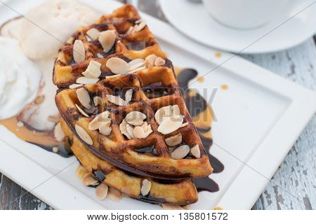 Chocolate Waffle On Top With Almond