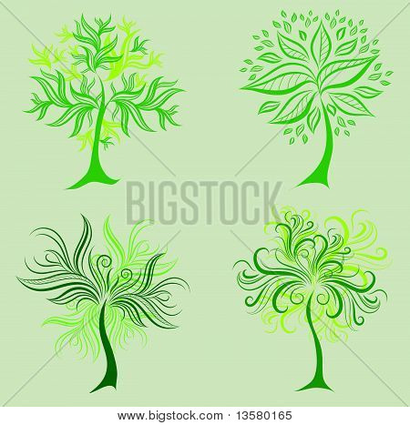 Vector set of spring tree design elements