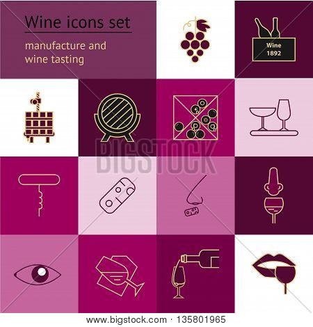 Wine icons collection . Modern outline style. Can be used for wine shop wine company and club for typographic purpose. Maroon burgundy vinous purple pink colors